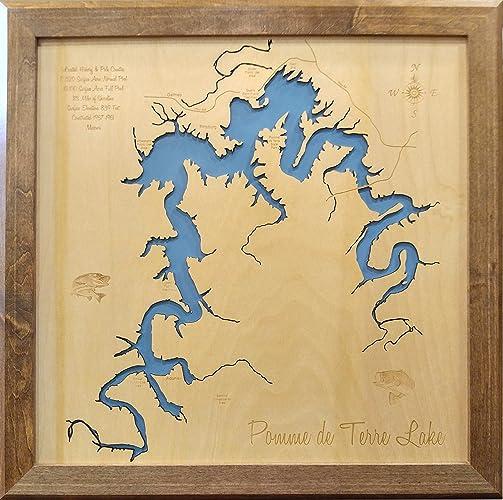 Pomme De Terre Lake Map Amazon.com: Pomme de Terre Lake, Missouri: Framed Wood Map Wall