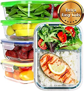 JinaMart [4Pack-35 oz] Large 1&2 Compartment Glass Meal Prep Containers Leak Proof Glass Bento Box Airtight Lunch Containers Microwave Safe Divider | Lids BPA Free (10 pcs)
