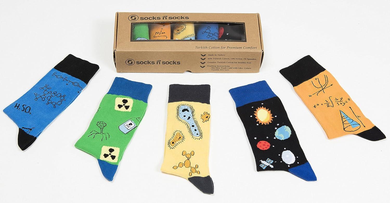 socks n socks-Calzini da Uomo a 5 Paia di Cotone Lusso Divertimento Elegante Fantasia Colorato Vestito Regalo Scatola