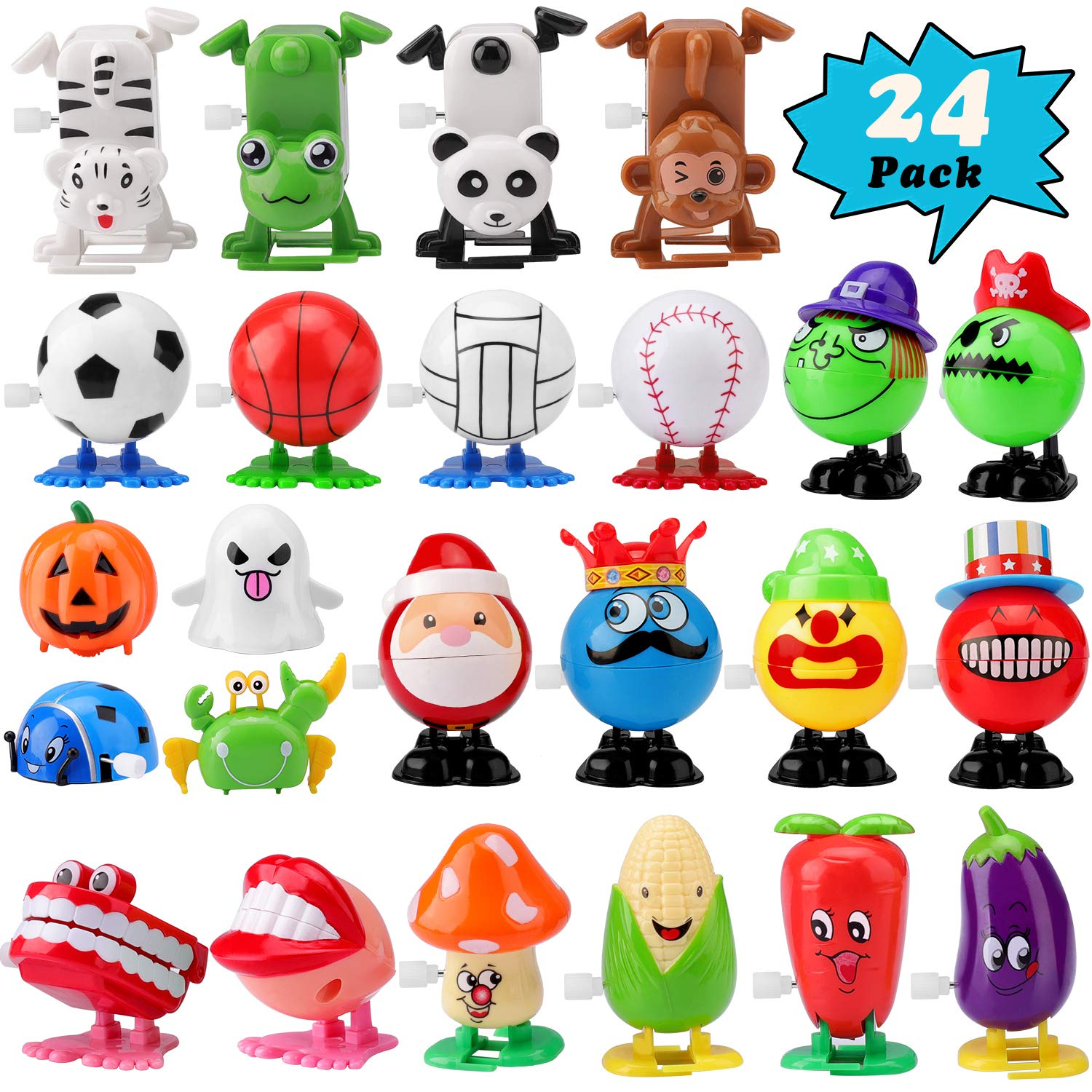FittiDoll 24 Pack Wind Up Toys Assorted Wind-up Toys for Kids by FittiDoll
