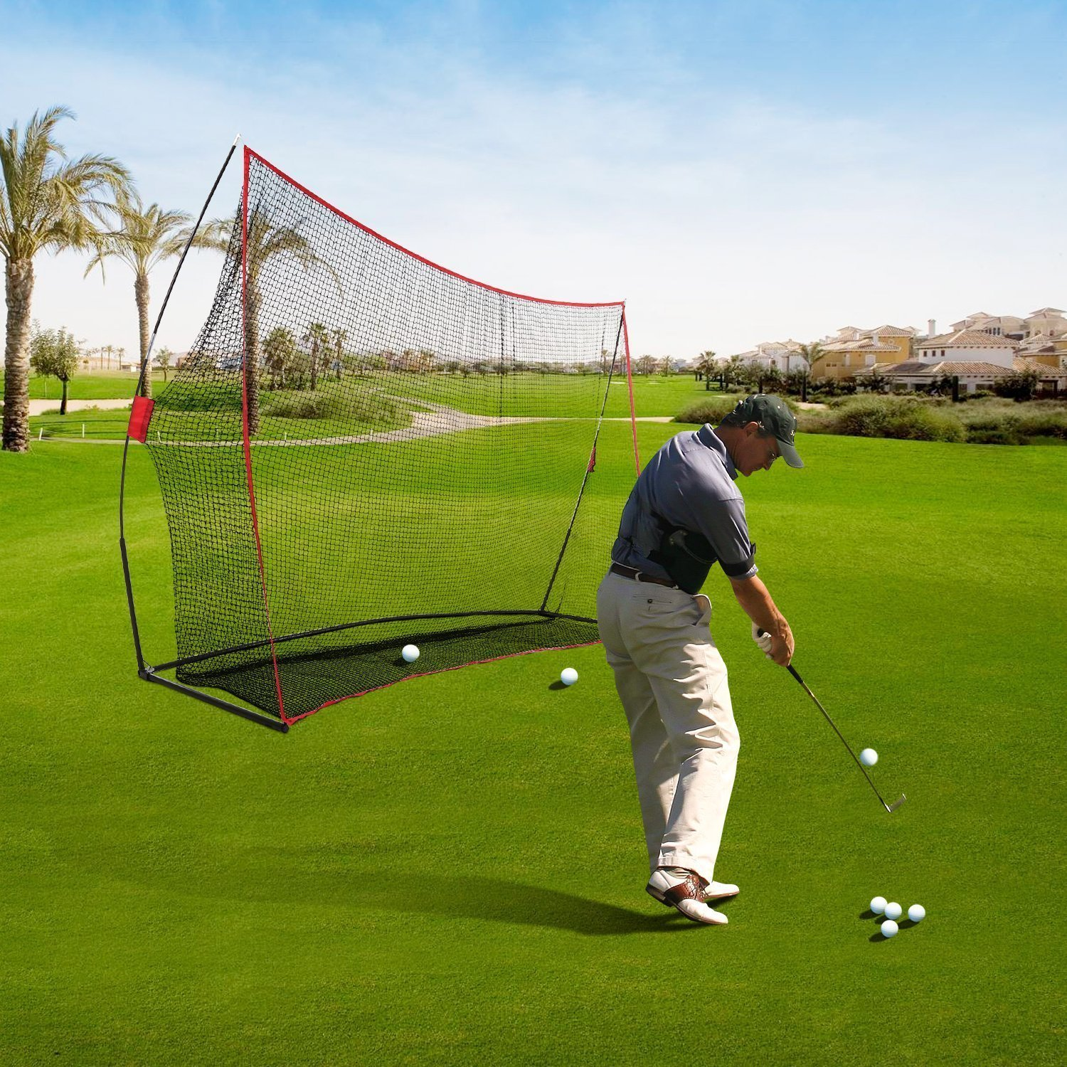 Garain Professional Portable Golf Hitting Net Driving Net with Bow Frame and Carrying Bag (10 ft x 7ft x 3ft) [ US STOCK]