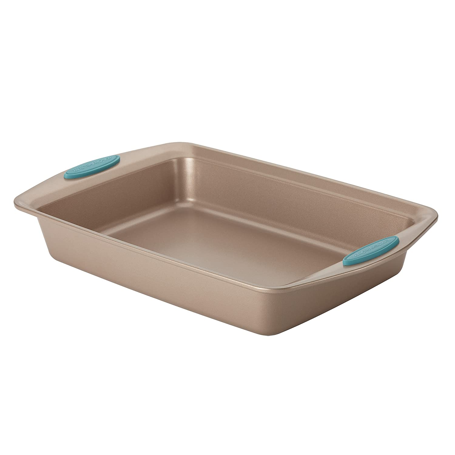 Rachael Ray Cucina Nonstick Bakeware 9-Inch by 13-Inch Rectangle Cake Pan, Latte Brown with Agave Blue Handles 267965