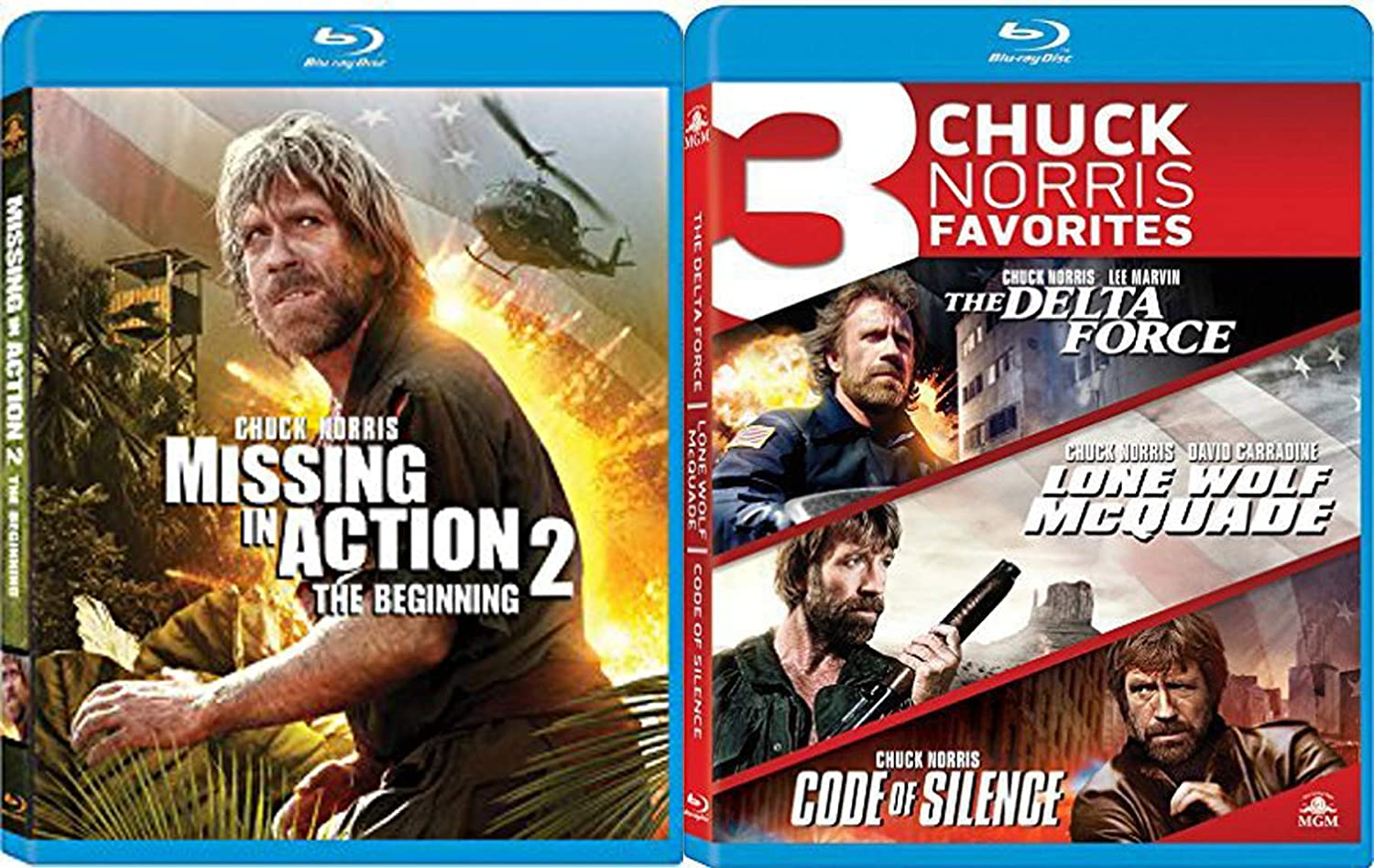 Fierce with his gun - but lethal with his black belt! Hero Chuck Norris 4-Movie Blu Ray Delta Force / Lone Wolf McQuade / Code of Silence / Missing in Action Part 2 The Beginning Film Man Marathon