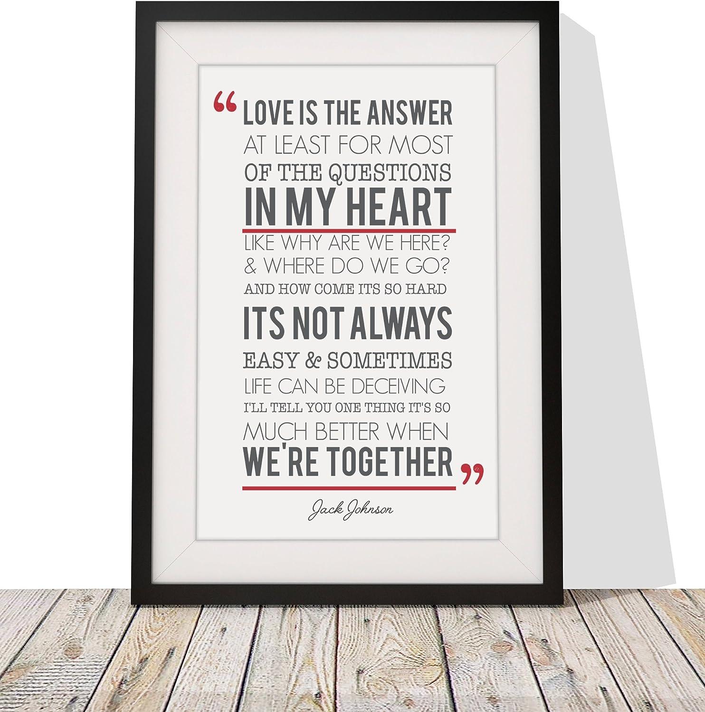 anniversary Better Together First dance Framed Song Lyrics Jack Johnson