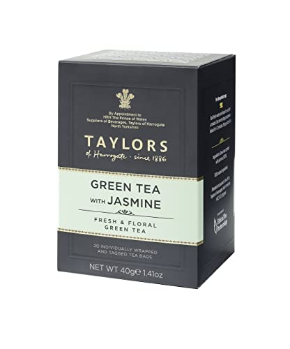 Taylors of Harrogate Green Tea with Jasmine 20 individually wrapped bags with tags