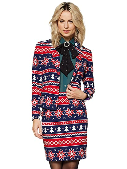 ba683baa54e12b Opposuits Christmas Suits for Women in Different Prints - Ugly Xmas Sweater  Costumes Include Blazer and Skirt, Nordic Noelle (UK 10): Amazon.co.uk:  Clothing