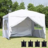 Canopy Tent Pop Up Portable Shade Instant Heavy Duty Outdoor Gazebo 10 x 10 White with 4 Removable sidewalls and 4 Sandbags f