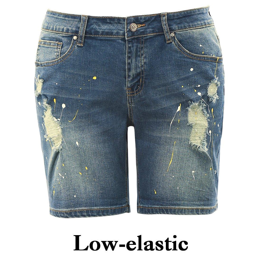 MSSHE Women's Plus Size Printed Cuffed Denim Shorts