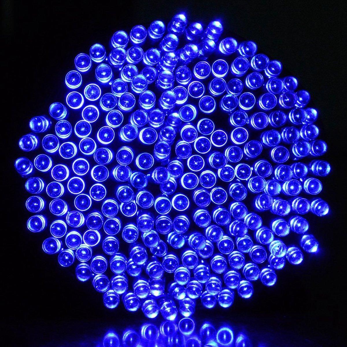 iRegro 100 LED al aire libre solar de cadena ligera impermeable accionada Hada de iluminación de Navidad Decoración de luces de neón Signos (azul): ...