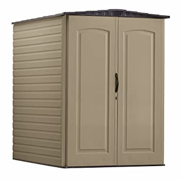 Rubbermaid Plastic Large Outdoor Storage Shed,159 Cu. Ft., Sandalwood With  Onyx
