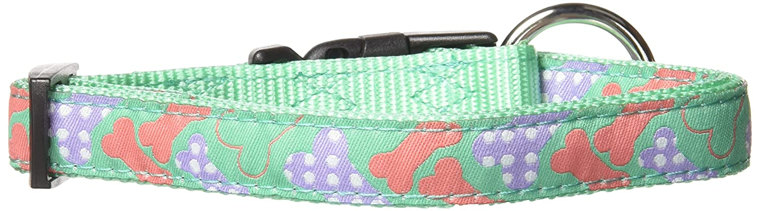 Pastel Bones Small Pastel Bones Small Hamilton 5 8  x 12 -18  Adjustable Dog Collar with Pastel Bones Pattern Ribbon Overlay, Small