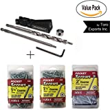 "Milescraft Pocket Hole Jig Bundle - Includes One Pocketjig 100 + 100 ct 1.25"", 100 ct 1.50"", 50 ct 2"" Coarse T20 Star Washer Head Screws"
