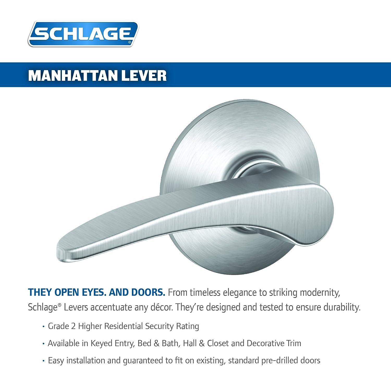 Schlage F40MNH626 Manhattan Privacy Lever Satin Chrome