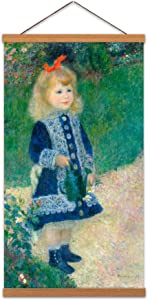 Auguste Renoir Girl With A Watering Can Painting Garden Canvas Wall Art Print Poster Magnetic Hanger Clip Frame 24x12 Inch