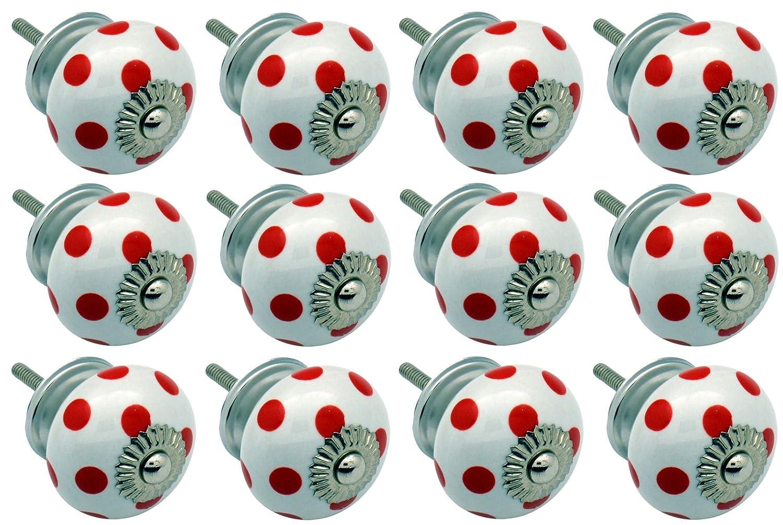 Poignées en céramique - pour placard/tiroir - design à pois - blanc/rouge - lot de 12 Nicola Spring