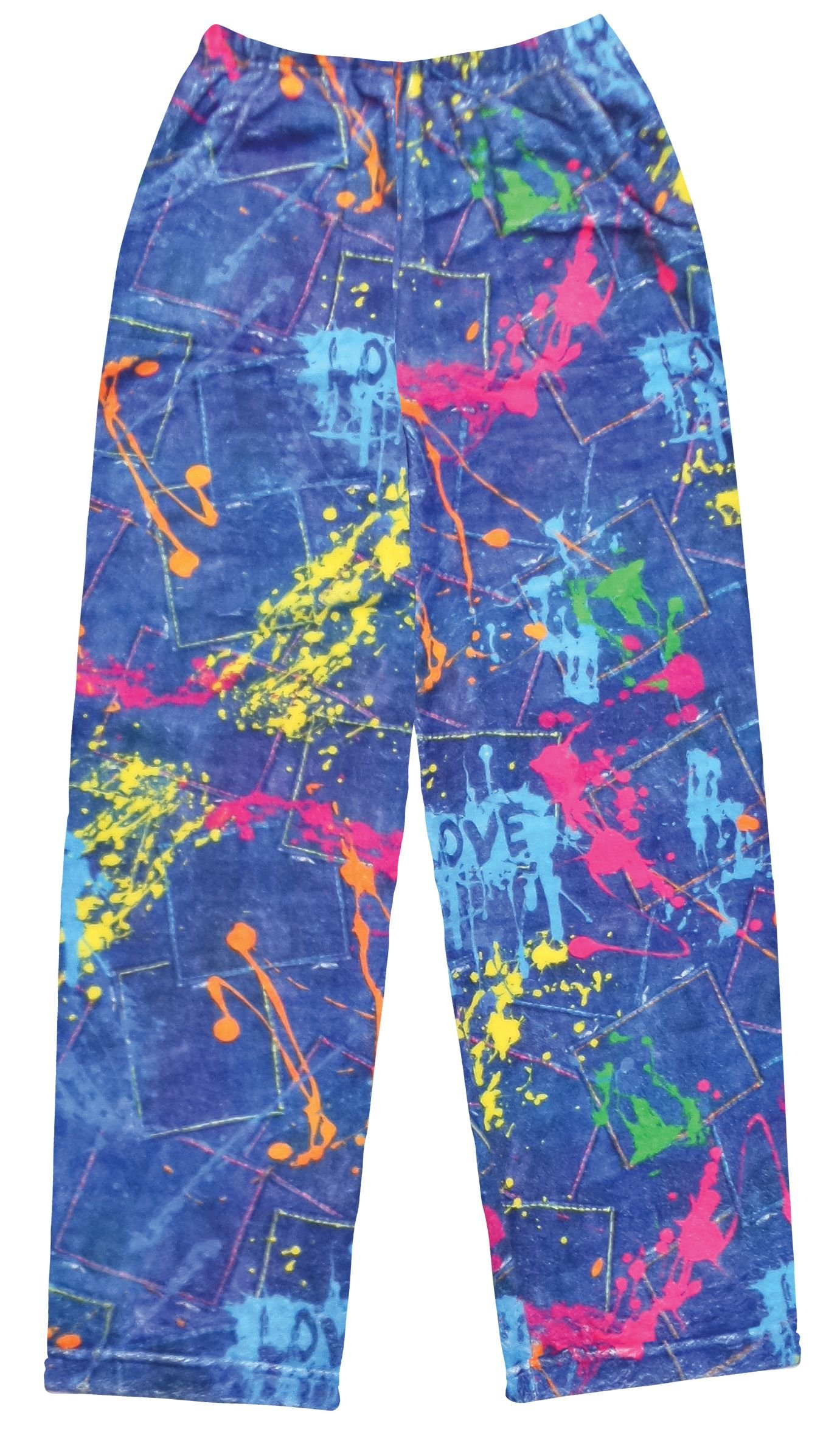 iscream Big Girls Fun Print Silky Soft Plush Pants - Color War, Medium