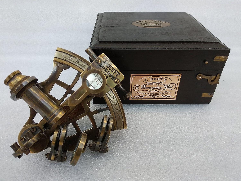 US HANDICRAFTS J Scott London Brass Ship History Sextant with Hardwood Box. Scott London Brass Ship History Sextant with Hardwood Box.J