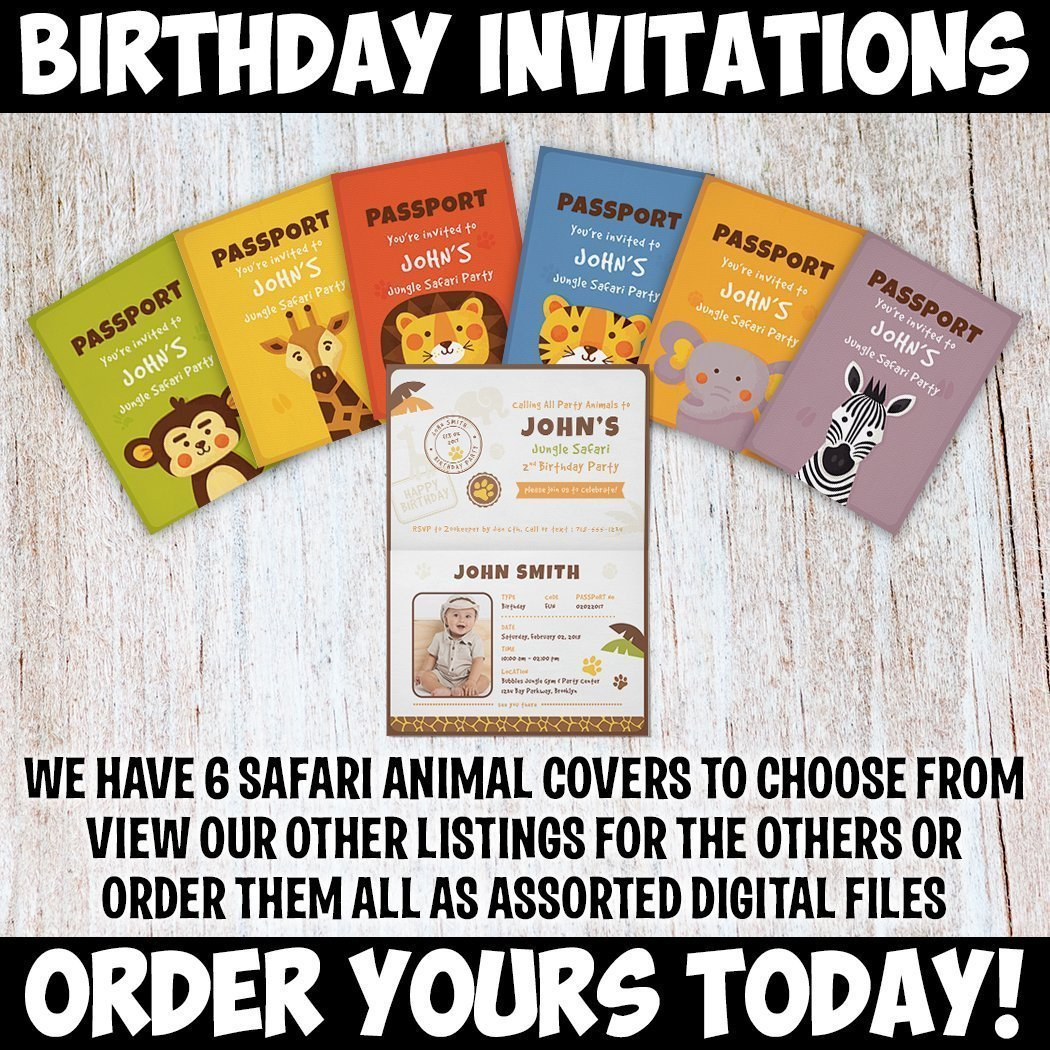 Amazon.com: Custom Personalized Tiger Safari Birthday Invitations ...