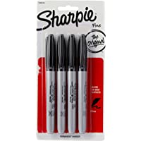 Sharpie Permanent Markers, Fine Point, Black, 4 Count