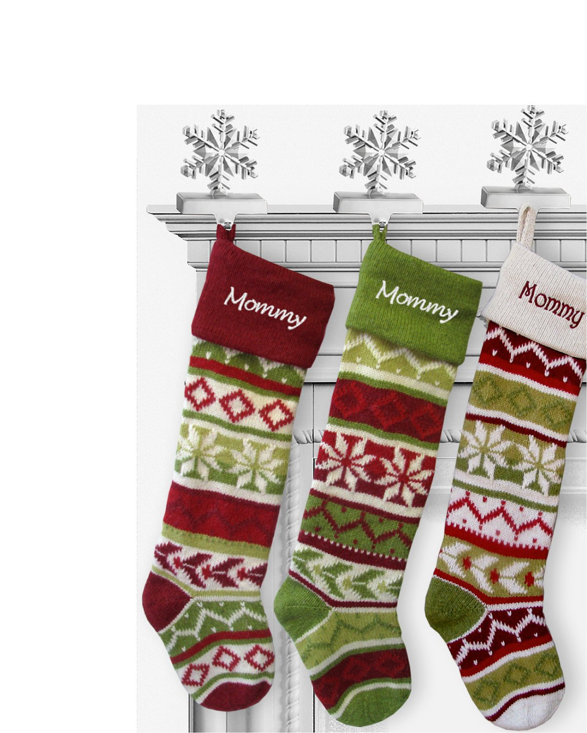 Personalized knitted christmas stockings green red white personalized knitted christmas stockings green red white cuff amazon kitchen home bankloansurffo Choice Image