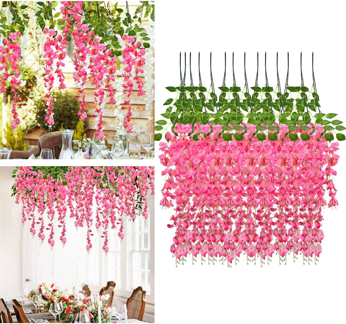 Artificial Wisteria Vine Ratta 3.25 Feet Hanging Garland Silk Fake Flowers String for Wedding Party12 Pack