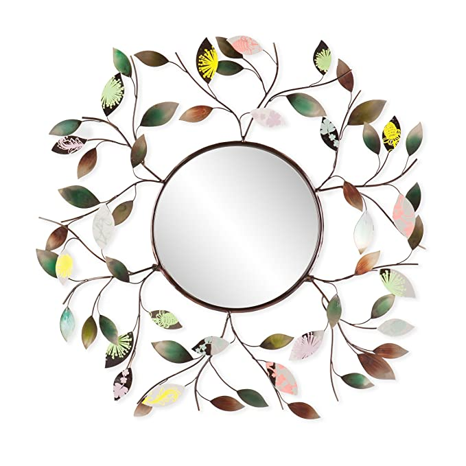 Decorative Metallic Leaf Wall Mirror - 3D Leaf Hanging Art - Multicolored Eclectic Style