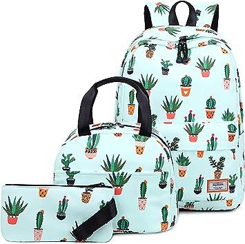 Joymoze Bolso para Libros Resistente al Agua para Niña Adolescente con Bolsa de Almuerzo y Estuche Cactus: Amazon.es: Equipaje