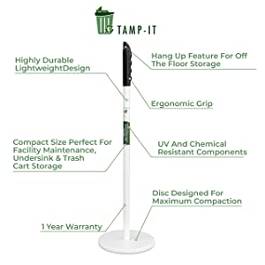 "TAMP-IT Mighty Mini Manual Trash Compactor Frees Up Space in Bins, Receptacles, Dumpsters Reduce Trips to Dispose Trash Cost Effective (18"" - 7 1/2"" D)"