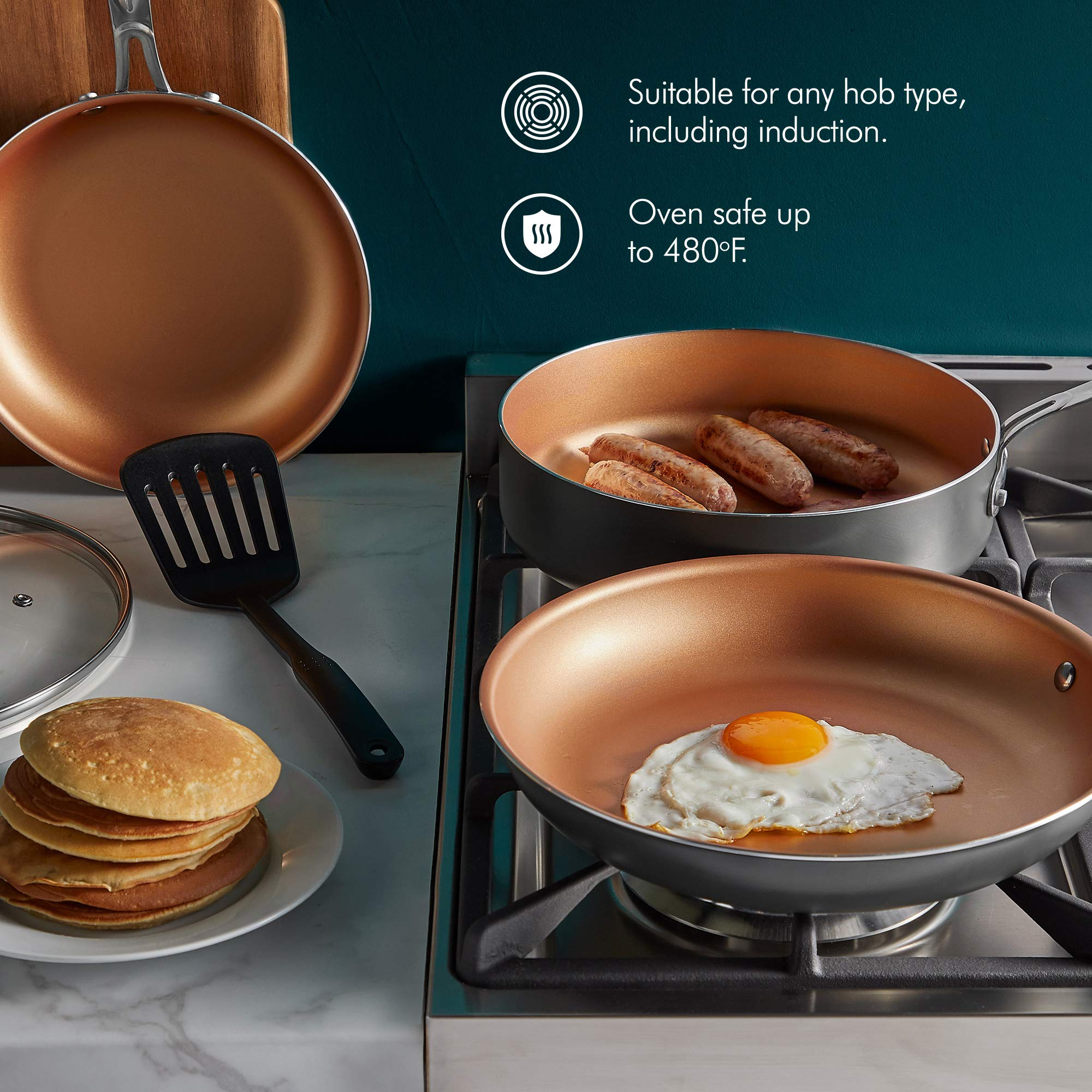 VonShef Non Stick Frying Pan Set - 8'', 10'' & 11'' Aluminum Skillets, Copper-Colored Interior, Stainless Steel Handles, Tempered Glass Lids and Spatula, Oven Safe and Induction Hob Ready, 6pc Set by VonShef (Image #4)