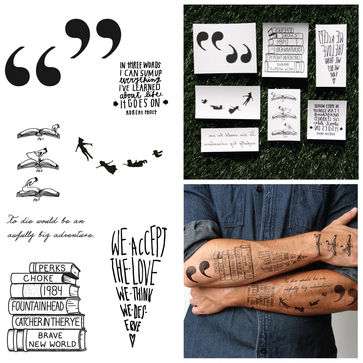 Books & Quotes Temporary Tattoo Pack (Set of 10)