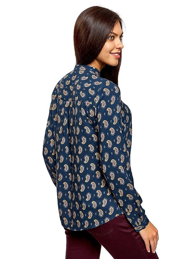 oodji Collection Mujer Blusa Estampada de Viscosa con Cuello Mao: Amazon.es: Ropa y accesorios