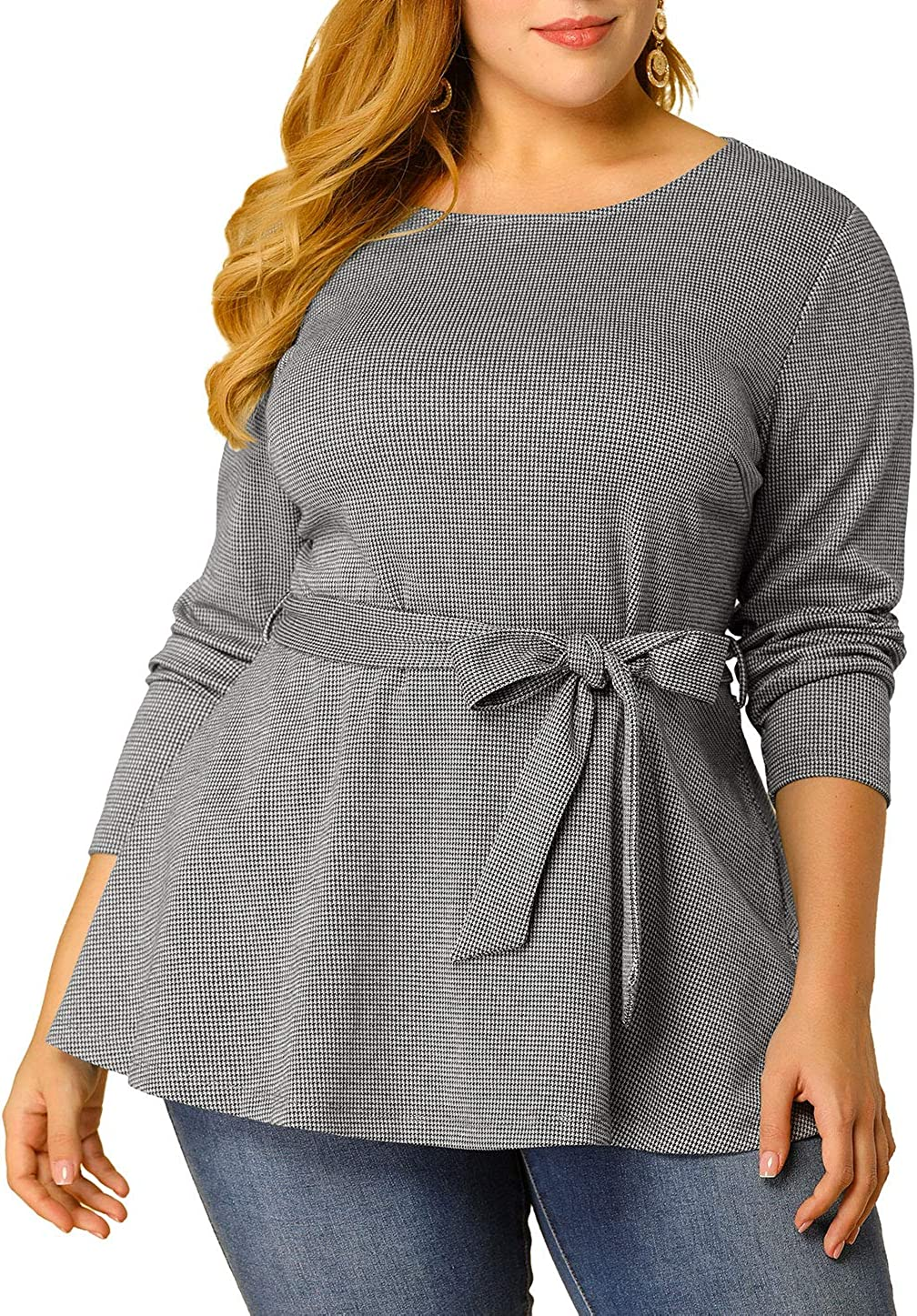 Agnes Orinda Women's Plus Size Blouse Houndstooth Office Casual Work Blouses Peplum Top