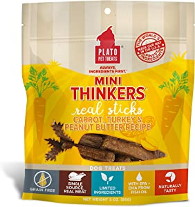 Plato Mini Thinkers Turkey Real Meat Sticks Dog Treats, The