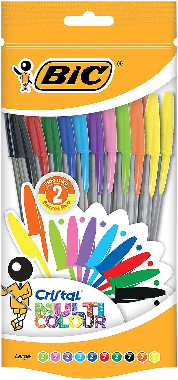 BIC Cristal Multicolor - Bolsa de 10 bolígrafos con 10 colores distintos, dos de ellos fluorescentes 943437