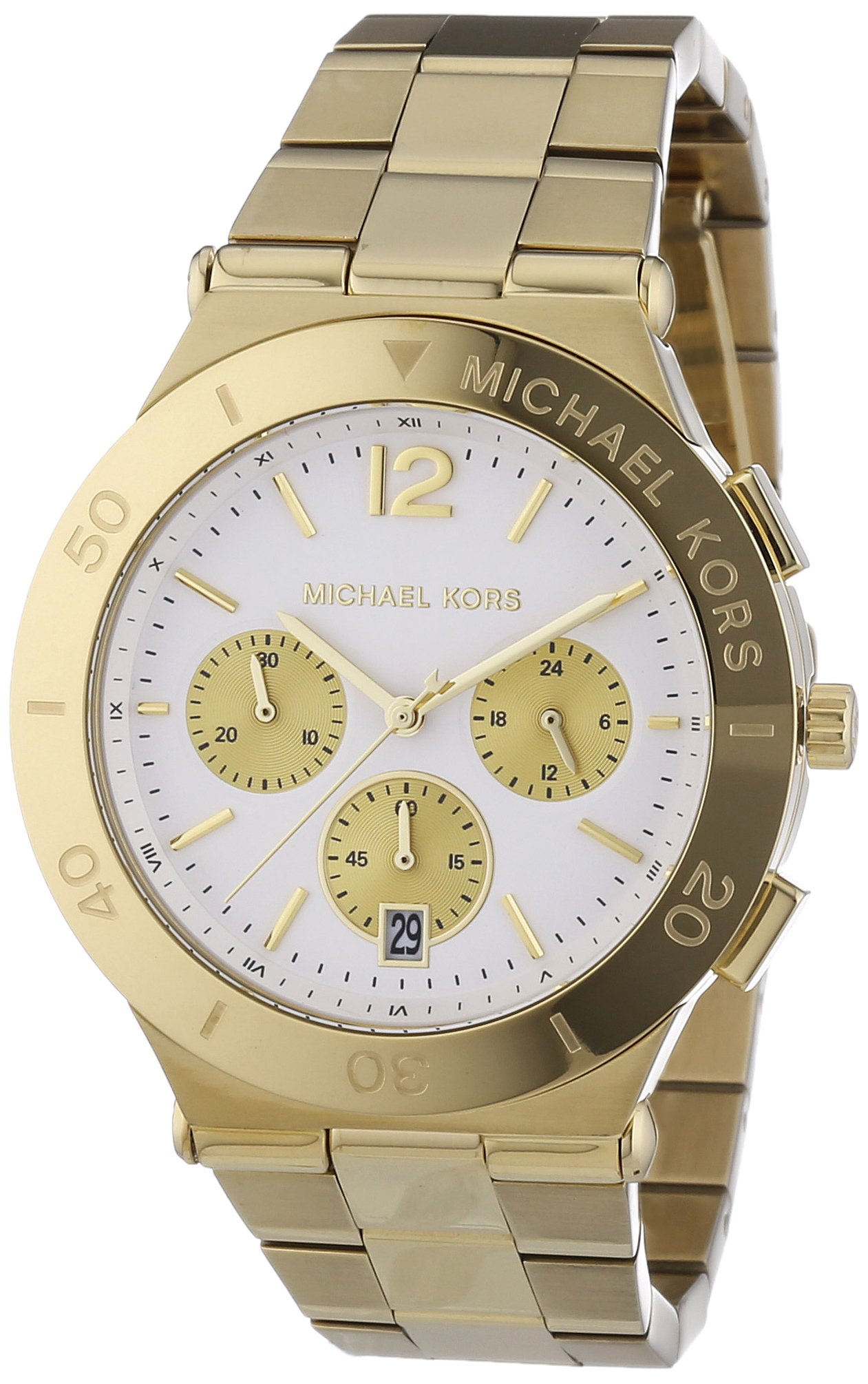 Michael Kors Wyatt Chronograph White Dial Gold Ion-plated Ladies Watch MK5933 by Michael Kors