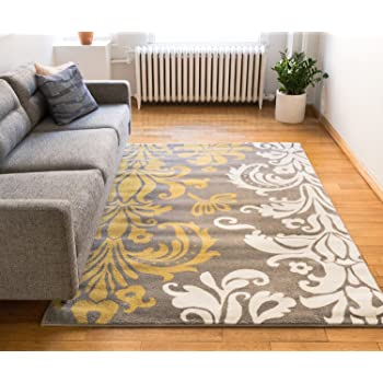 Amazon Com Vavu Damask Grey Gold Ivory Floral Modern