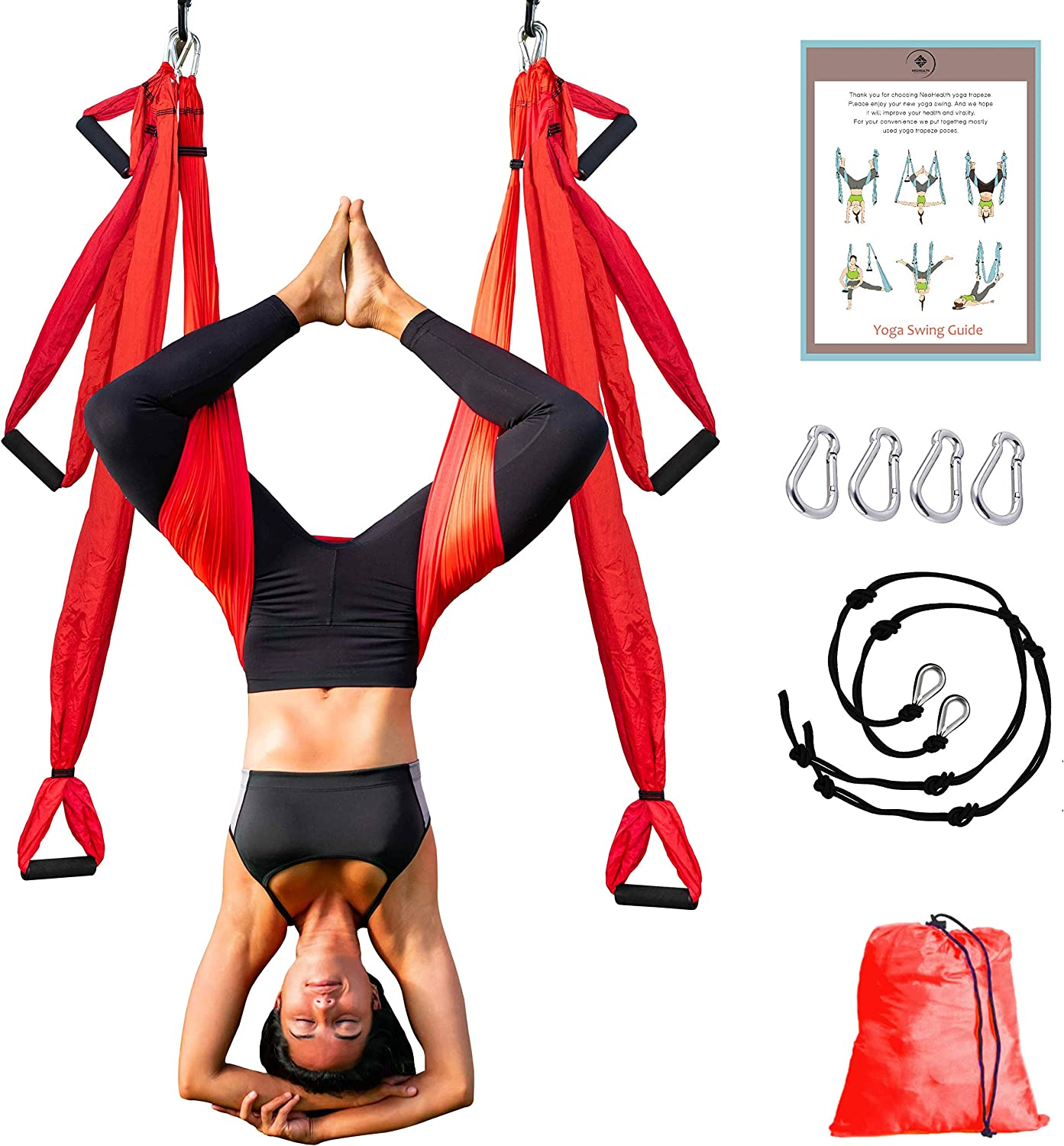 NeoHealth Aerial Yoga Hammock | Air Yoga Swing Kit | Premium Arial Yoga Silk Swing for Inversion Sling Exercise with 6 Extension Hanging Straps & ...