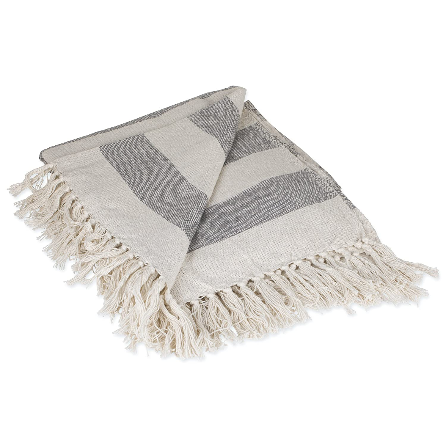 """DII Rustic Farmhouse Cotton Cabana Striped Blanket Throw with Fringe For Chair, Couch, Picnic, Camping, Beach, & Everyday Use, 50 x 60"""" - Cabana Striped Gray"""