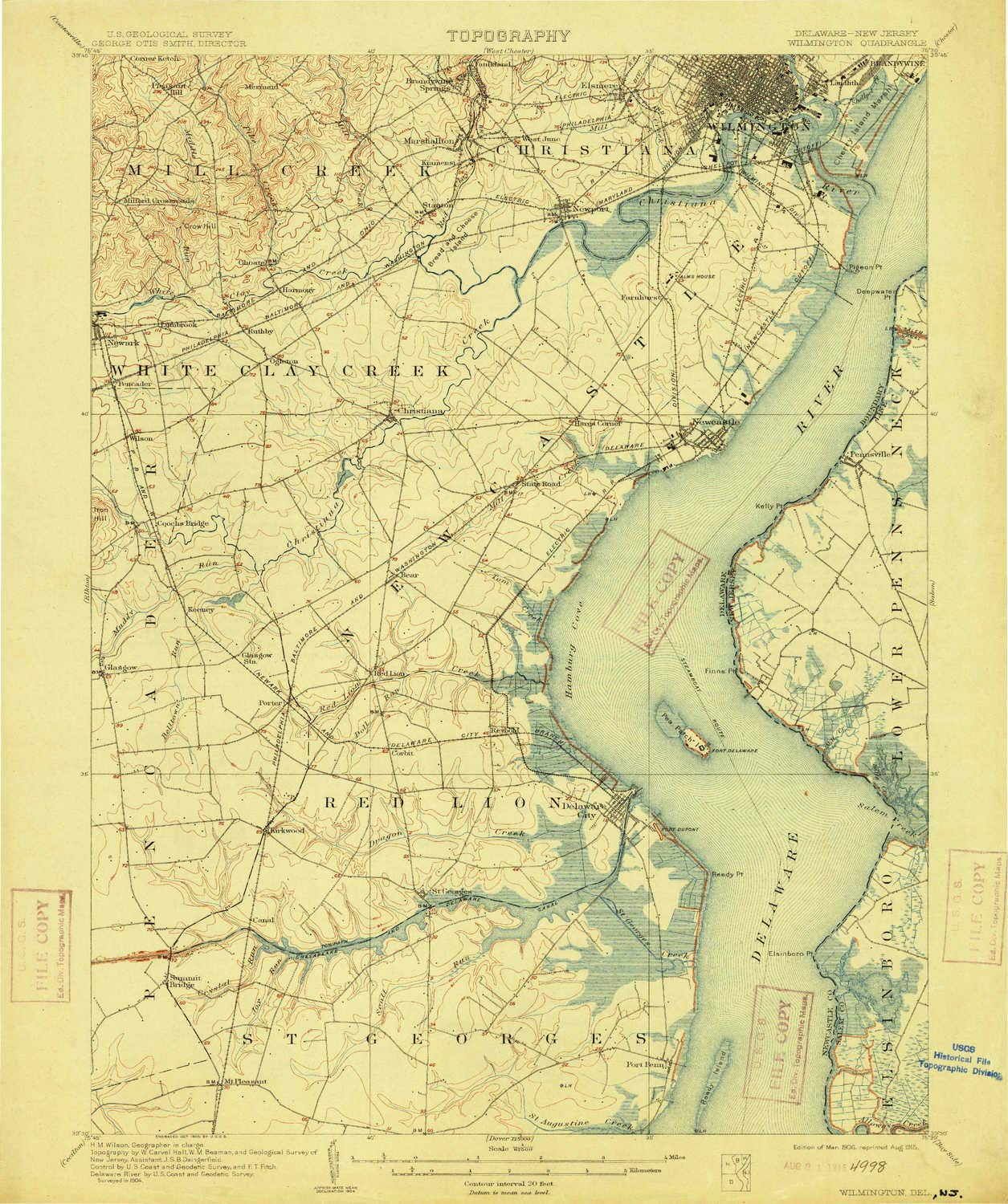 YellowMaps Wilmington DE topo map, 1:62500 Scale, 15 X 15 Minute, Historical, 1906, Updated 1915, 19.5 x 16.3 in - Polypropylene by YellowMaps