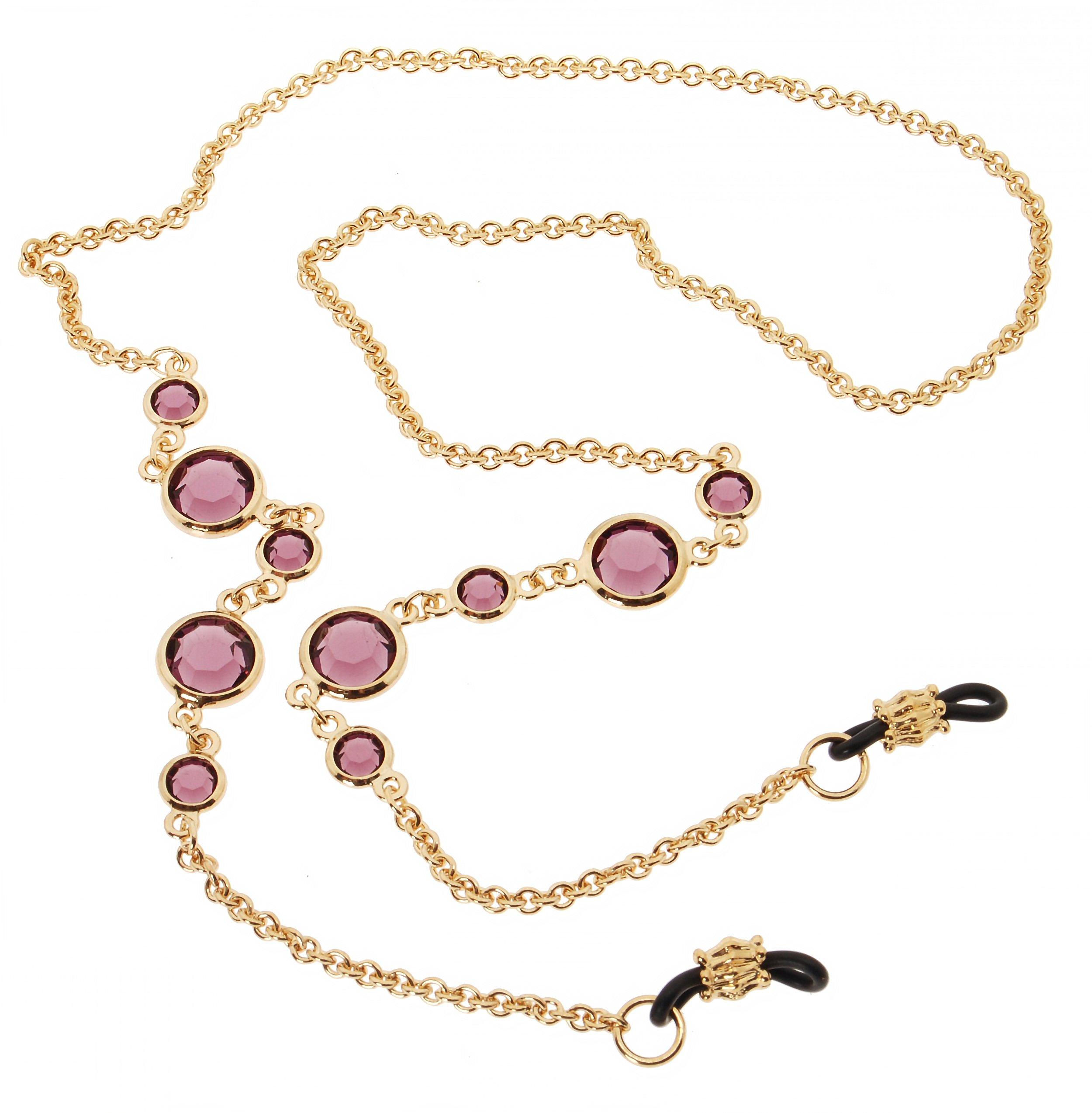 L. Erickson Daphanie Eyeglass Chain - Amethyst/Gold by L. Erickson