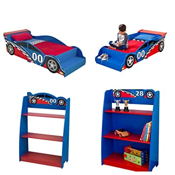 KidKraft Race Car Toddler Bed Blue And Red Bundle With Racecar Bookshelf