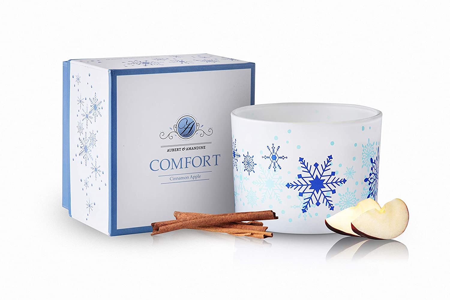 Aubert & Amandine Luxury Scented Soy 3 Wick Candle for Stress Relief & Relaxation High Intensity Aromatherapy (Comfort - Cinnamon Apple)