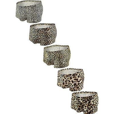iKingksy Men's Leopard Boxer Briefs Pouch Trunk Underwear Low Rise Mens Under Panties at Men's Clothing store