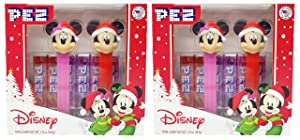 Pez Disney Mickey and Minnie Gift Set – Includes Christmas Pez Dispensers and 6 Pez Candy Rolls with Mickey and Minnie (Pack of 2)