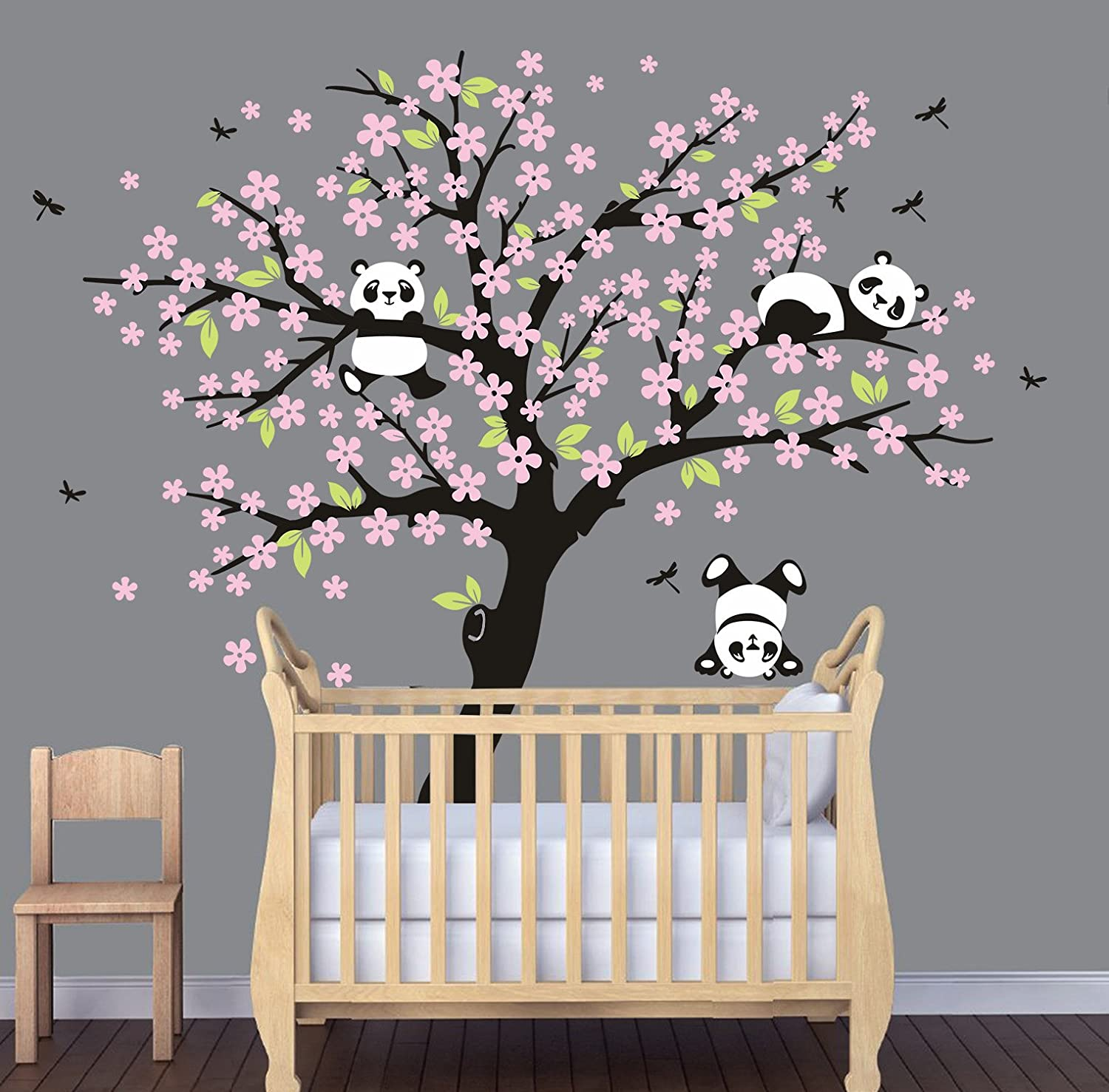 Amazoncom Luckkyy Three Playful Pandas Bear On Cherry Blossom Tree