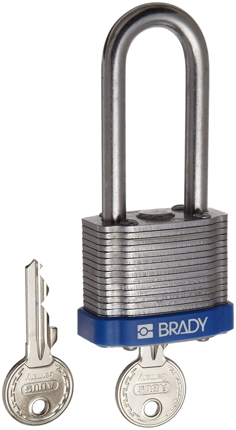 Pack of 1 Keyed Different Brady Steel Lockout//Tagout Padlock 2 Shackle Clearance Blue 1-1//3 Body Length 2 Shackle Clearance 99528 1-1//3 Body Length