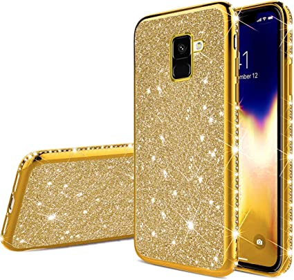 Herbests Compatible with Samsung Galaxy A7 2018 Case Women Girl Glitter Bling Crystal Sparkle Shiny Soft Transparent Plating TPU Silicone Rubber Shockproof Protective Case Cover,Rose Gold