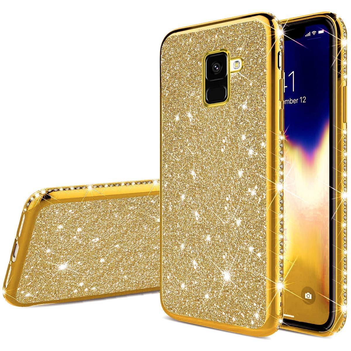 Herbests Kompatibel mit Samsung Galaxy A8 Plus 2018 H/ülle Bling /Überzug Gl/änzend Strass Diamant Handyh/ülle Silikon H/ülle Case Durchsichtig Schutzh/ülle Transparent TPU Ultrad/ünn Handytasche,Rose Gold