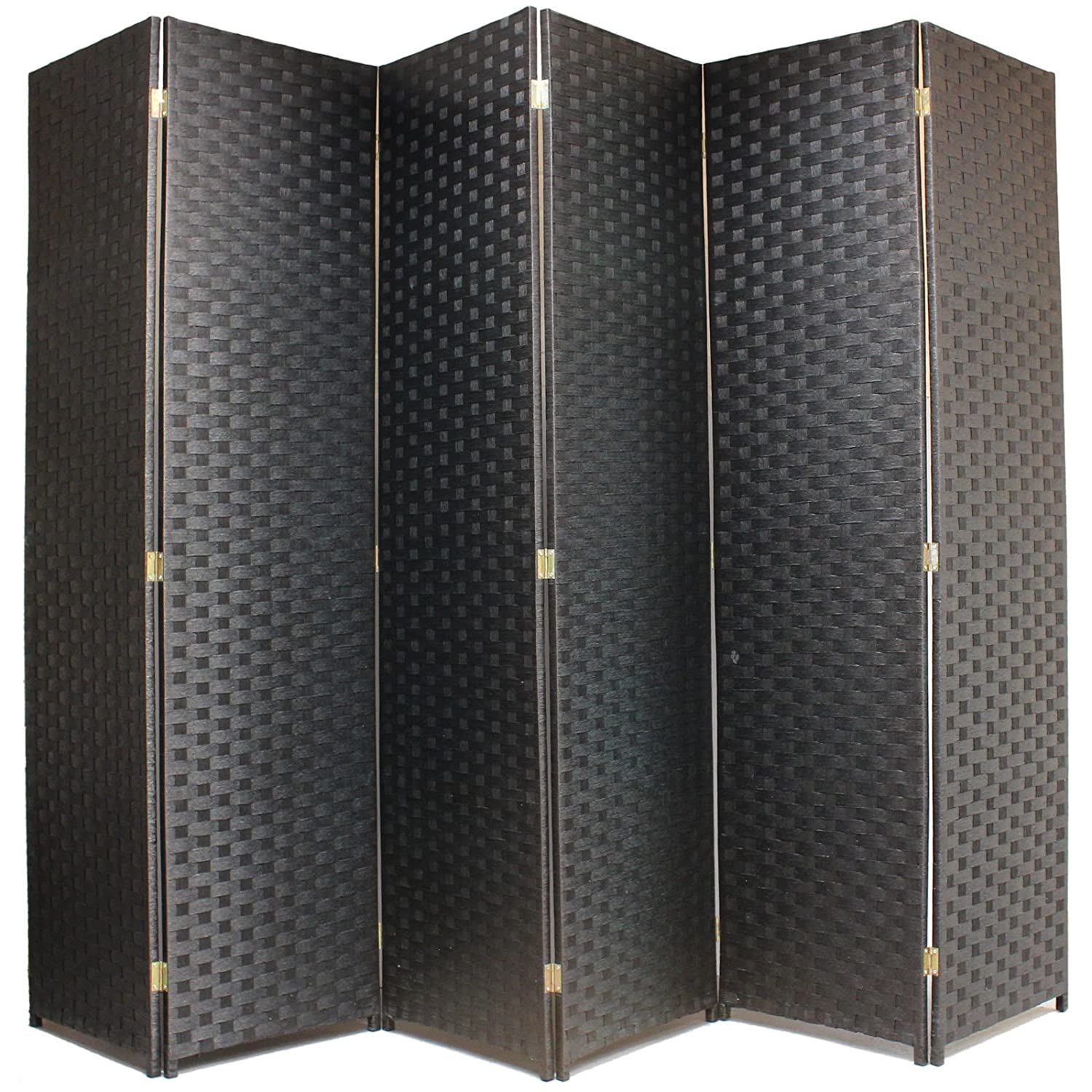 Black 6 Panels Lightweight Hand Made Woven Folding Room Separator & Privacy Panel with Folding Design (Height  180cm, Individual Width  45cm) (Brown, 3 Panels)