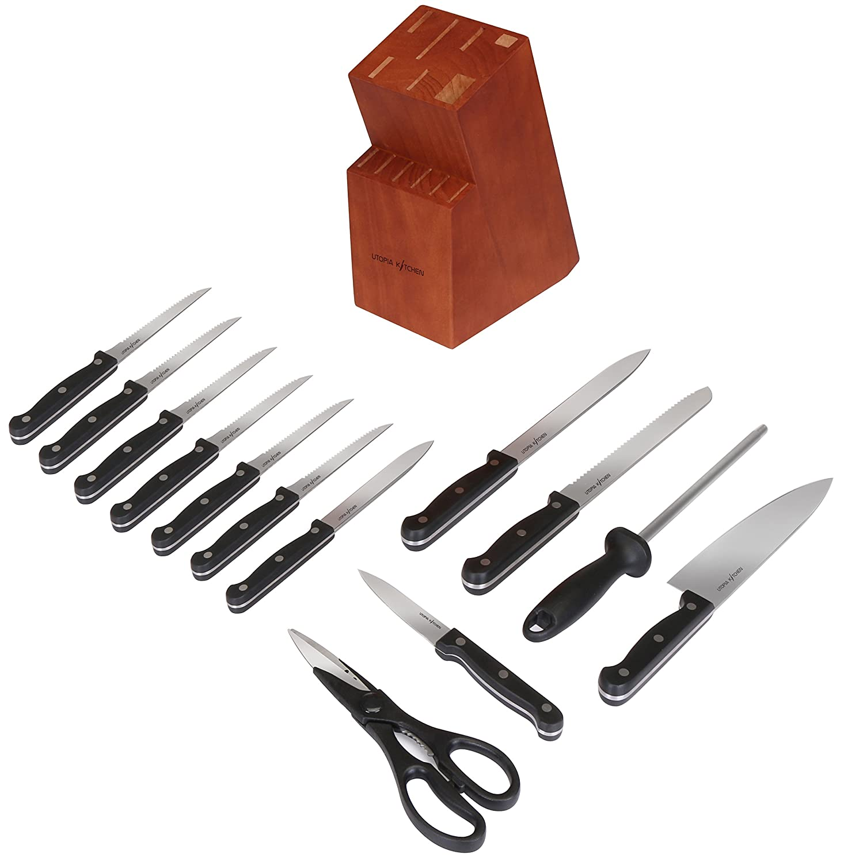 Knife Block Set 13 & 14 Pcs Chef Bread Carving Paring Steak Knife Scissor Utopia | eBay